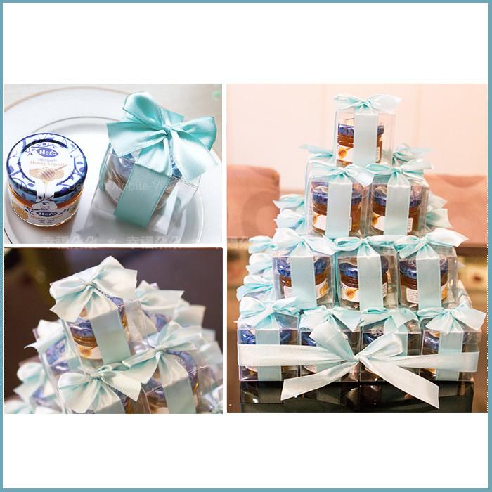 婚禮週邊-甜蜜蜜「透明盒裝」瑞士進口hero蜂蜜小禮盒 x 30盒 (Tiffany色緞帶)