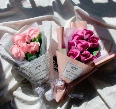 迷你手捧香皂玫瑰花束