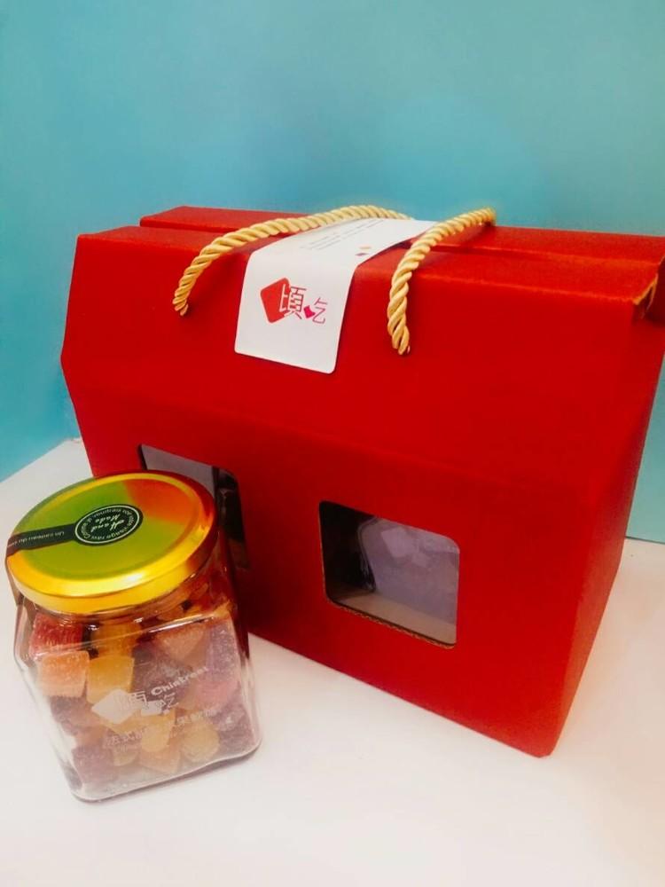 婚禮週邊-限量『頃吃法式軟糖家庭禮盒』隨機水果-大裸糖罐禮盒--膳食纖維水果軟糖,無色素香精