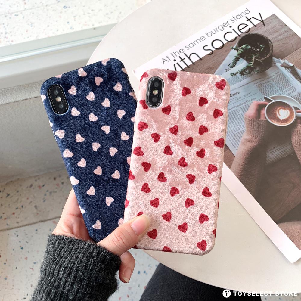 出清SALE【溫潤質感】法蘭絨布小愛心iPhone手機殼
