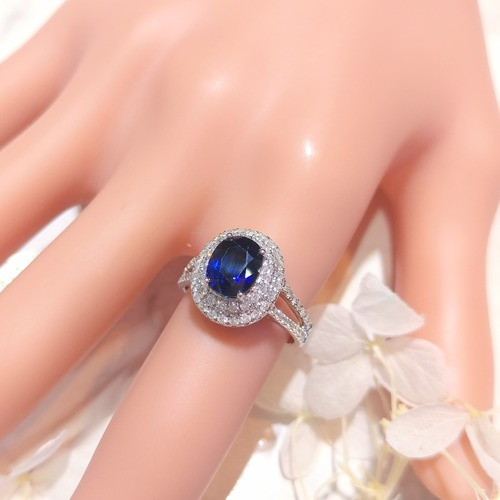 【Peggyhoho】全新18K白金2卡38份蛋面藍寶石配50份真鑽石戒指| 天然藍寶石 IGI證