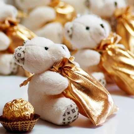 婚禮週邊-新品-幸福鑰匙圈金袋小熊32元小物盒-編號3206