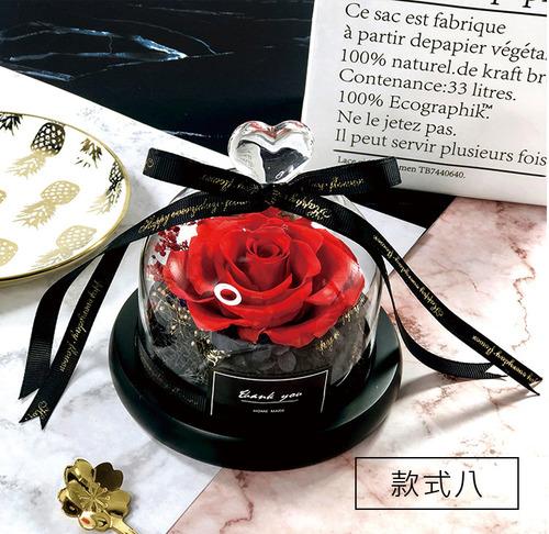 如夢似幻|玫瑰永生花燈光玻璃罩
