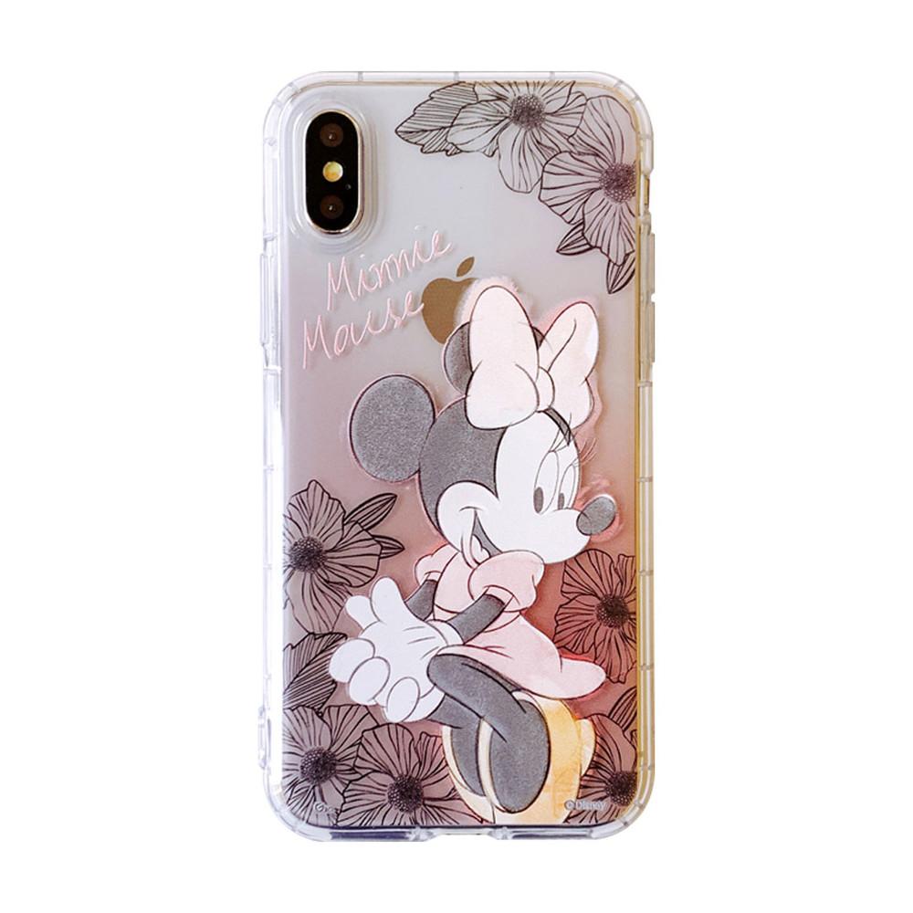 出清SALE【正版授權】迪士尼限量經典素描花朵iPhone空壓殼 米妮/史迪奇/小熊維尼