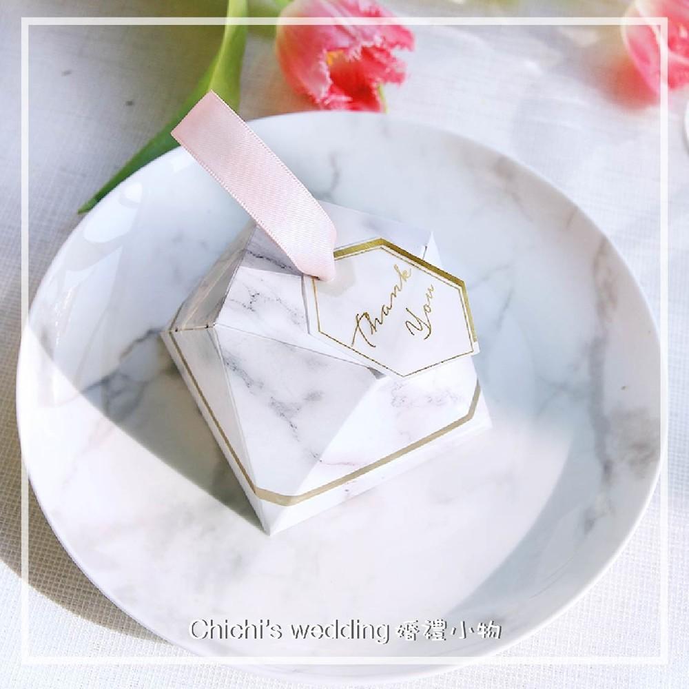 婚禮週邊-大理石鑽石喜糖盒