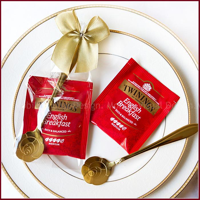婚禮週邊-日暖-唐寧英倫茶包玫瑰湯匙組(金緞)