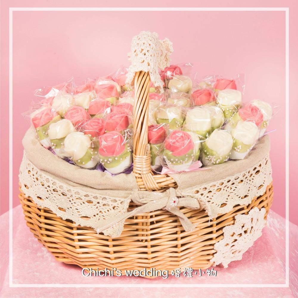 婚禮週邊-玫瑰棉花棒棒糖50支加小提籃