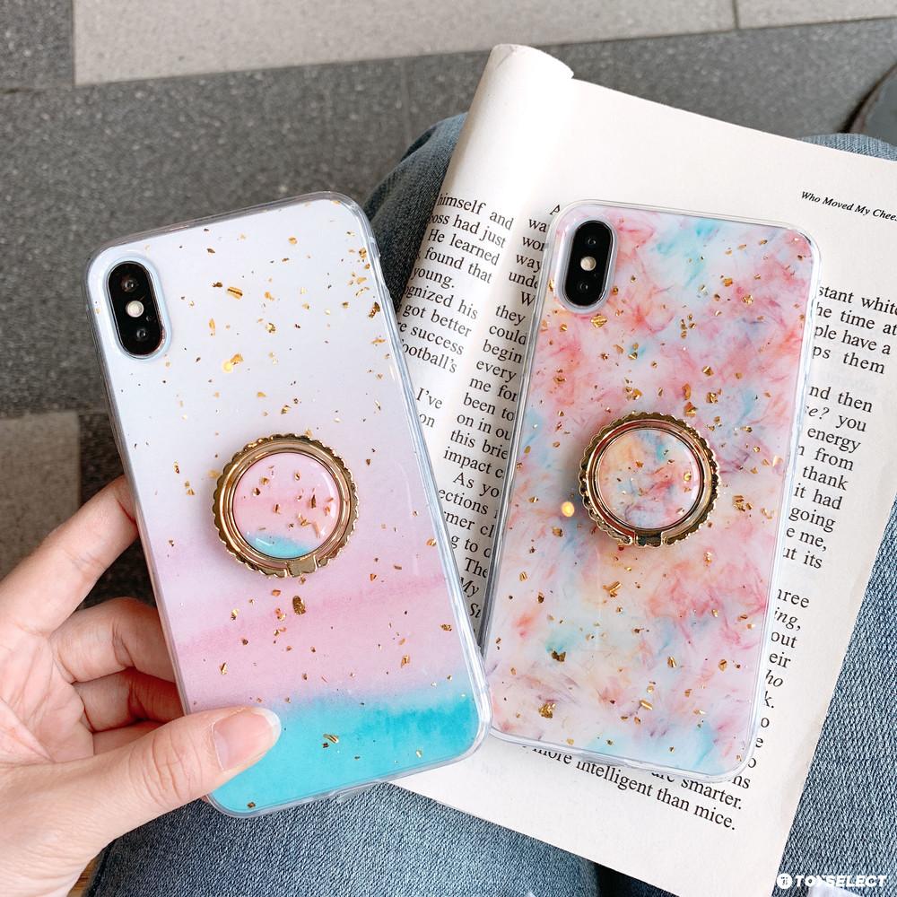 出清SALE【可掛脖】粉嫩櫻花季金箔指環iPhone手機殼