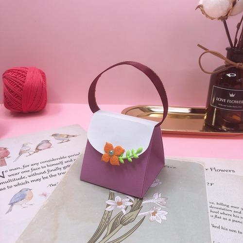 小花手提包造型立體卡片
