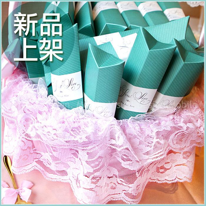 婚禮週邊-Sweet Love Tiffany盒玫瑰湯匙二入禮盒X50份+大提籃X1個-★限宅配