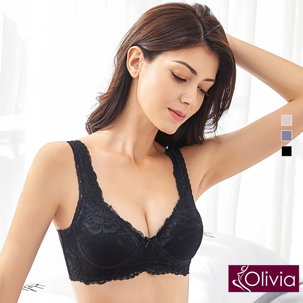 內衣 Olivia 嚴選6A級天然100%蠶絲 無鋼圈魅惑蕾絲內衣-黑色