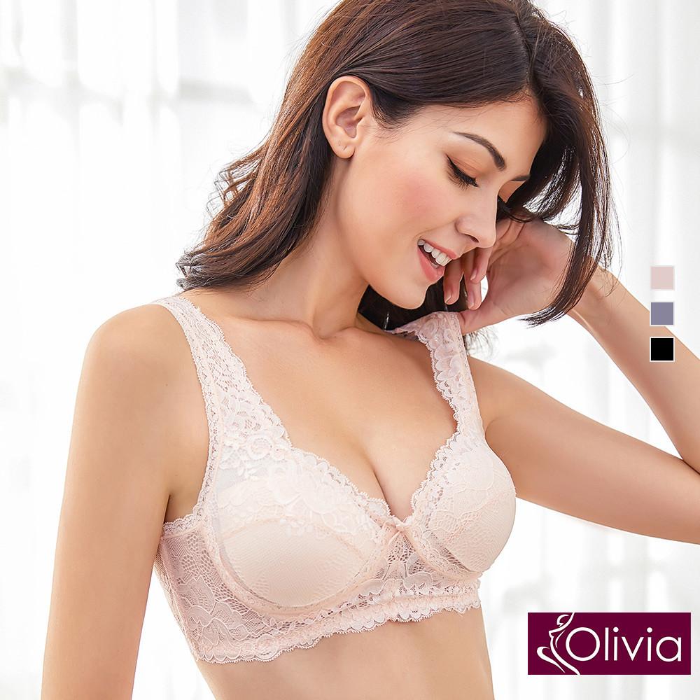 內衣 Olivia 嚴選6A級天然100%蠶絲 無鋼圈魅惑蕾絲內衣-粉色