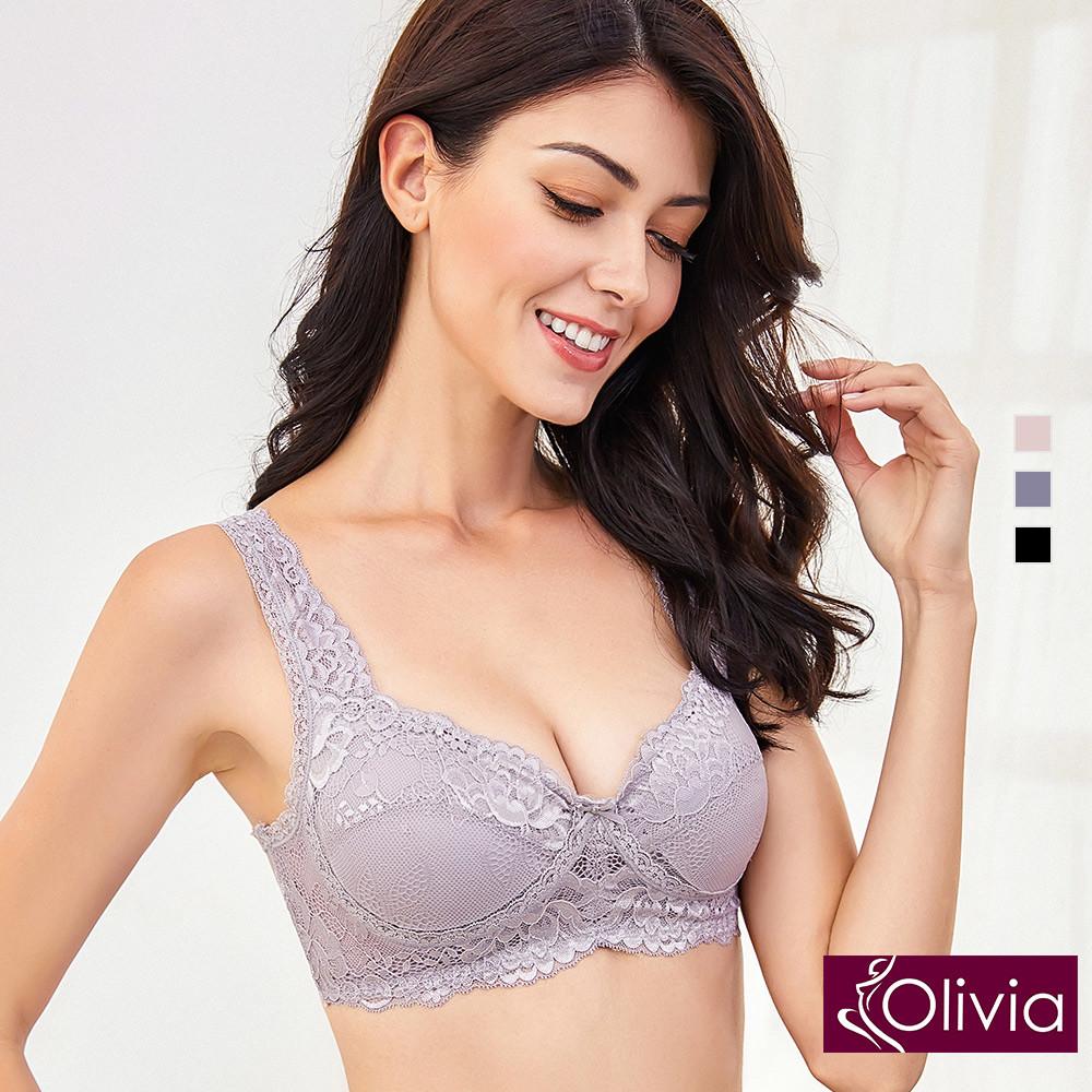 內衣 Olivia 嚴選6A級天然100%蠶絲 無鋼圈魅惑蕾絲內衣-紫色