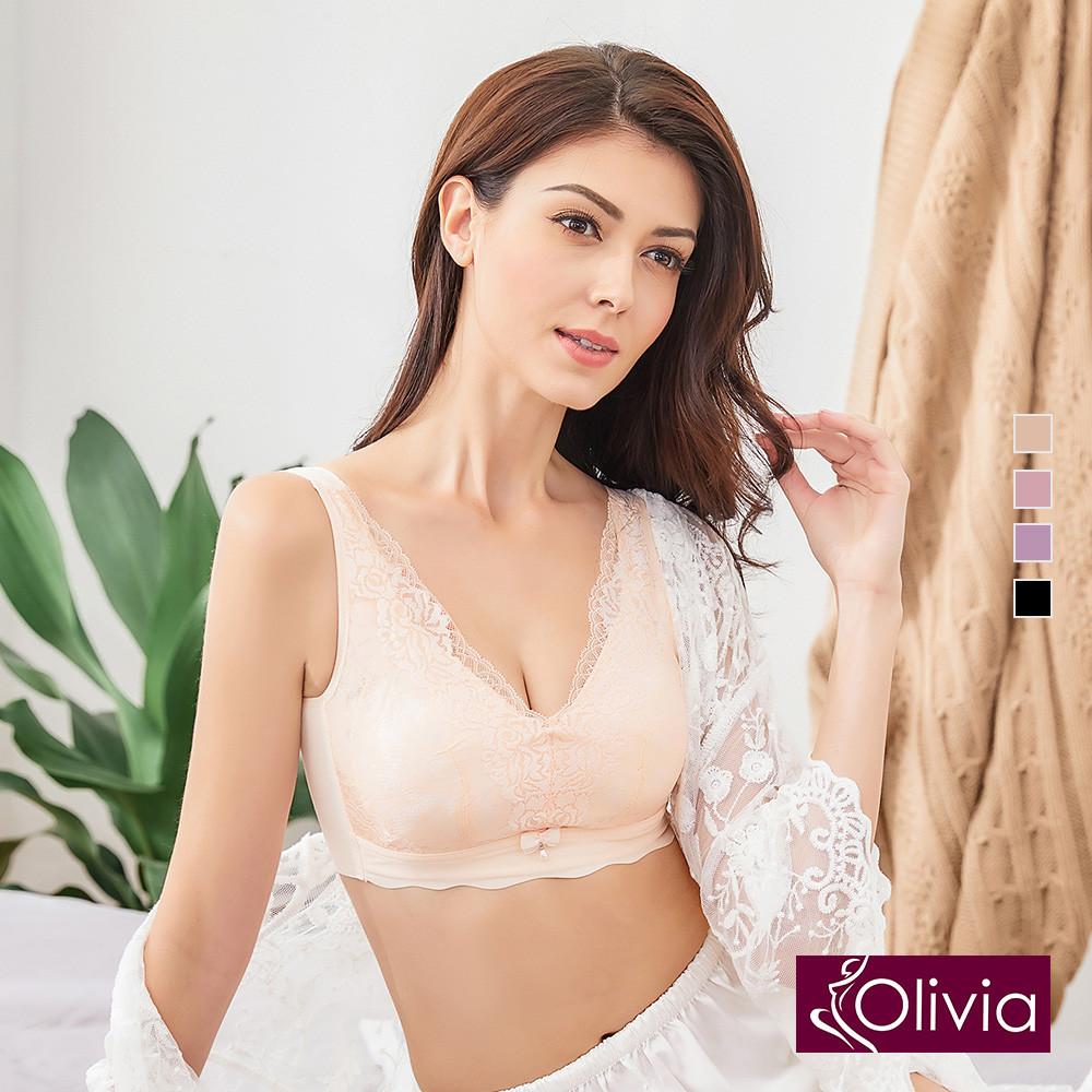 內衣 Olivia 無鋼圈凡爾賽蕾絲內衣-膚色
