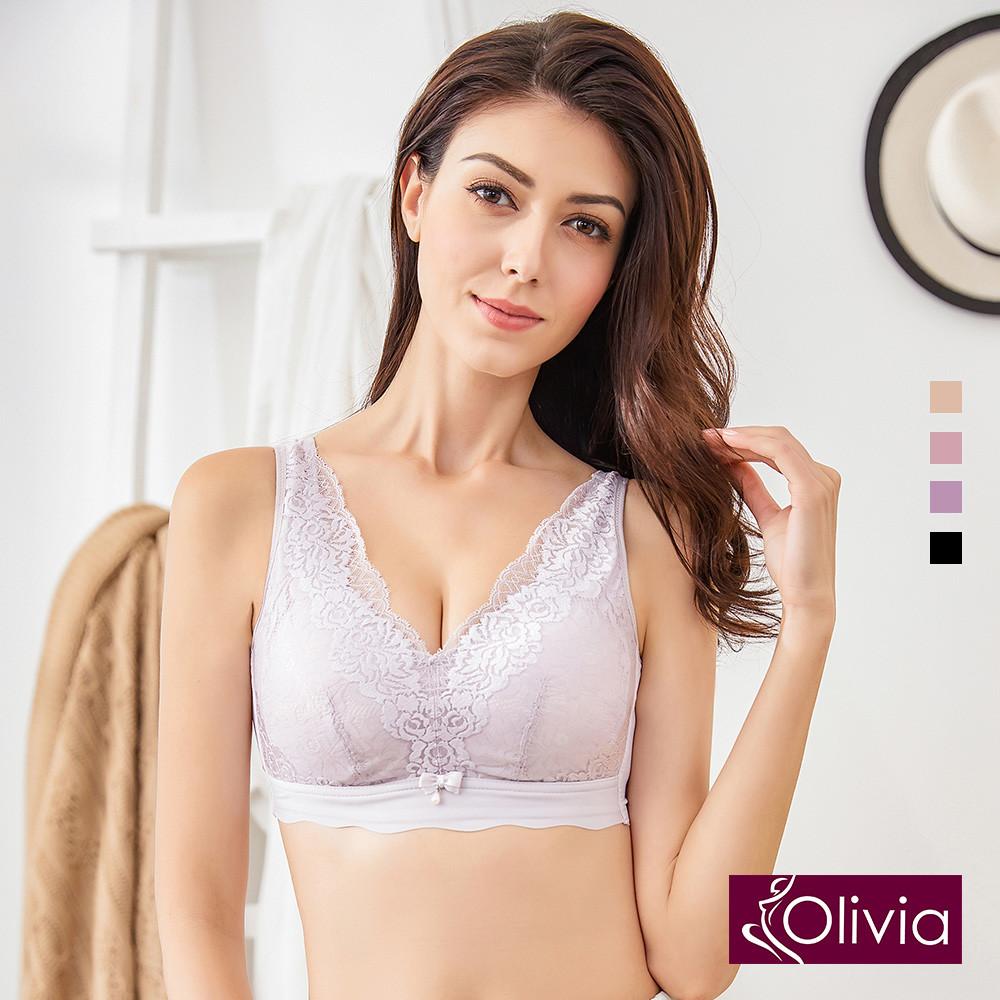 內衣 Olivia 無鋼圈凡爾賽蕾絲內衣-灰紫色