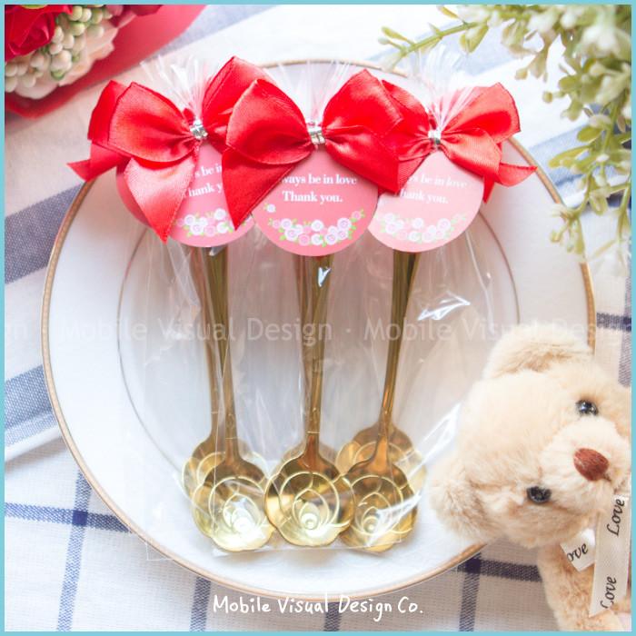 婚禮週邊-(附贈蝴蝶結吊牌包裝)婚禮小物-精巧包玫瑰湯匙