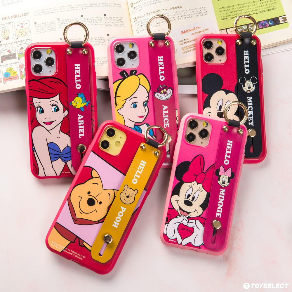 【正版授權】迪士尼經典人物腕帶支架iPhone手機殼 米妮/米奇/小熊維尼/愛麗絲/小美人魚