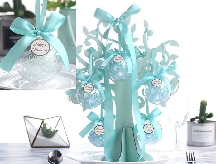 婚禮週邊-【活動禮/位上禮】手工喜糖立體包X20+圓滿樹壓克力球X10球(一桌)(可加購裝盒)