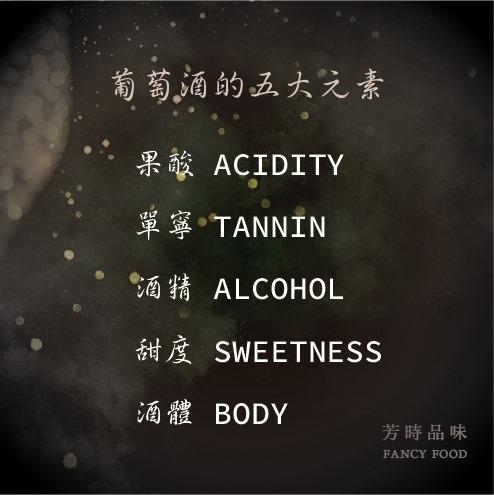 葡萄酒的五大元素包含果酸、單寧、酒精、甜度、酒體