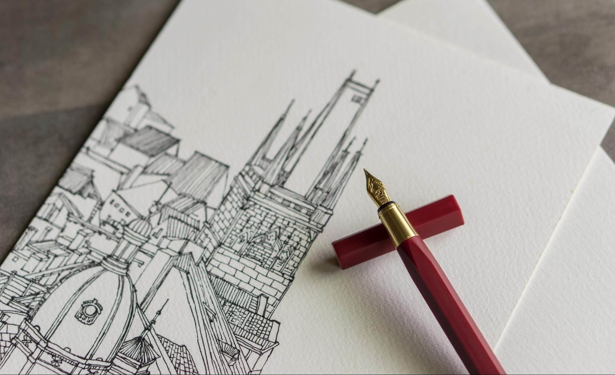 手寫語錄搭配鋼筆繪畫