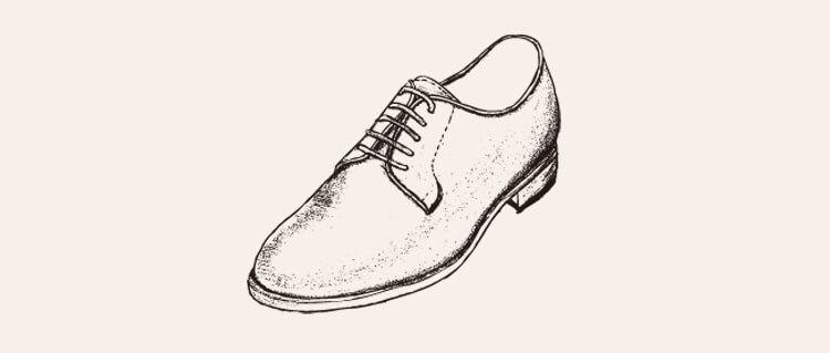 手繪德比鞋背景空白