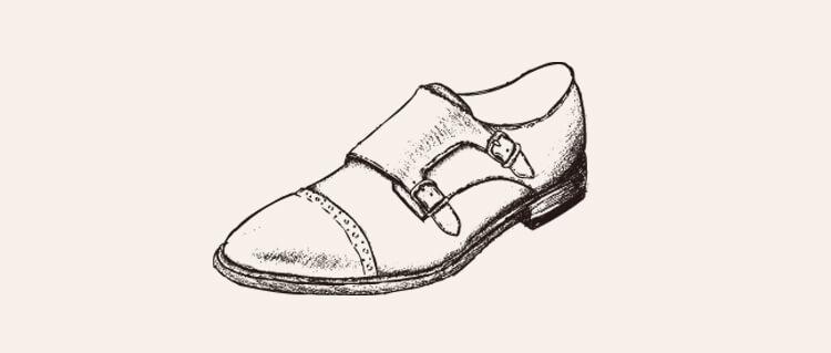 手繪孟克鞋背景空白