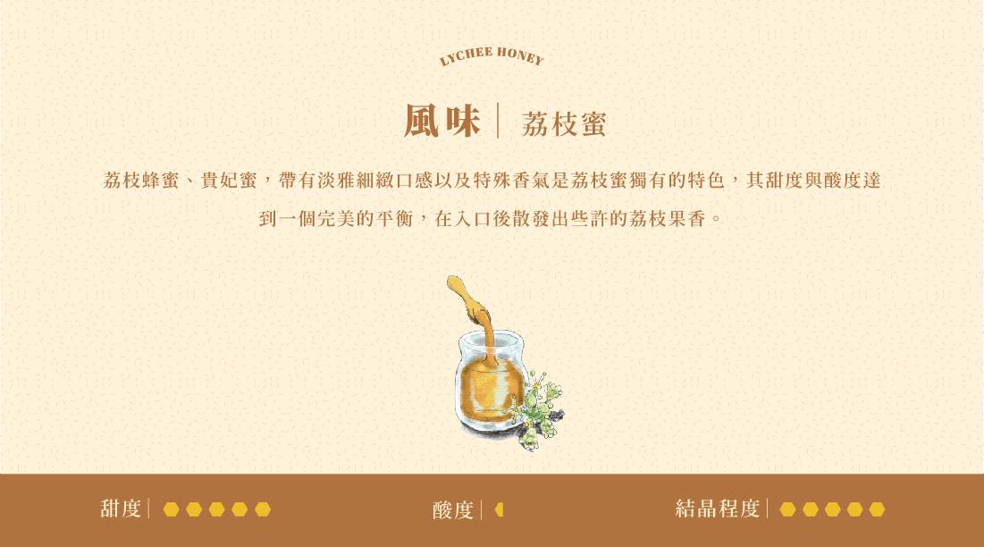 採自荔枝花,又作稱為荔枝花蜜、荔枝蜂蜜、貴妃蜜,帶有淡雅細緻口感以及清新的口感,是荔枝蜜獨有的特色,其甜度與酸度達到一個完美的平衡,在入口後散發出些許的荔枝果肉果香,又因具有容易結晶的特性,常被當成塗抹麵包或是餅乾的果醬使用,其中製作成檸檬水最能品嚐到環繞味蕾的荔枝花香,此款蜂蜜清新淡雅的香氣也受到許多外國旅客的喜愛,也是是蜂蜜種類中少有帶給人清新感受的花蜜。