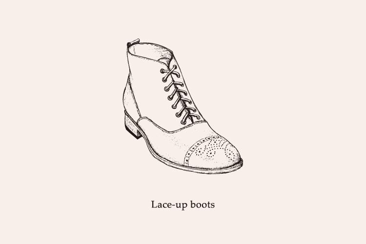 繫帶靴 lace-up boots-牛津靴手繪圖