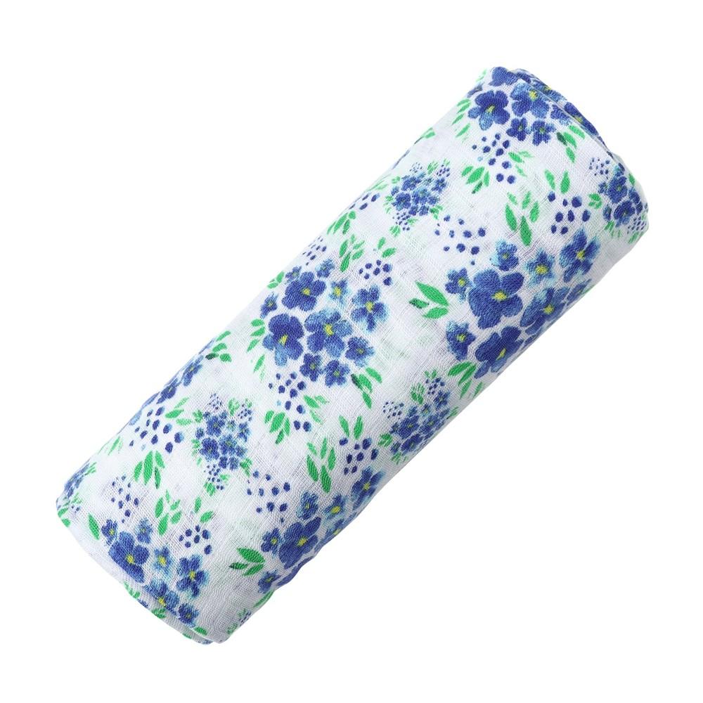 美國 Malabar baby 藍調花語-有機棉包巾(1入)