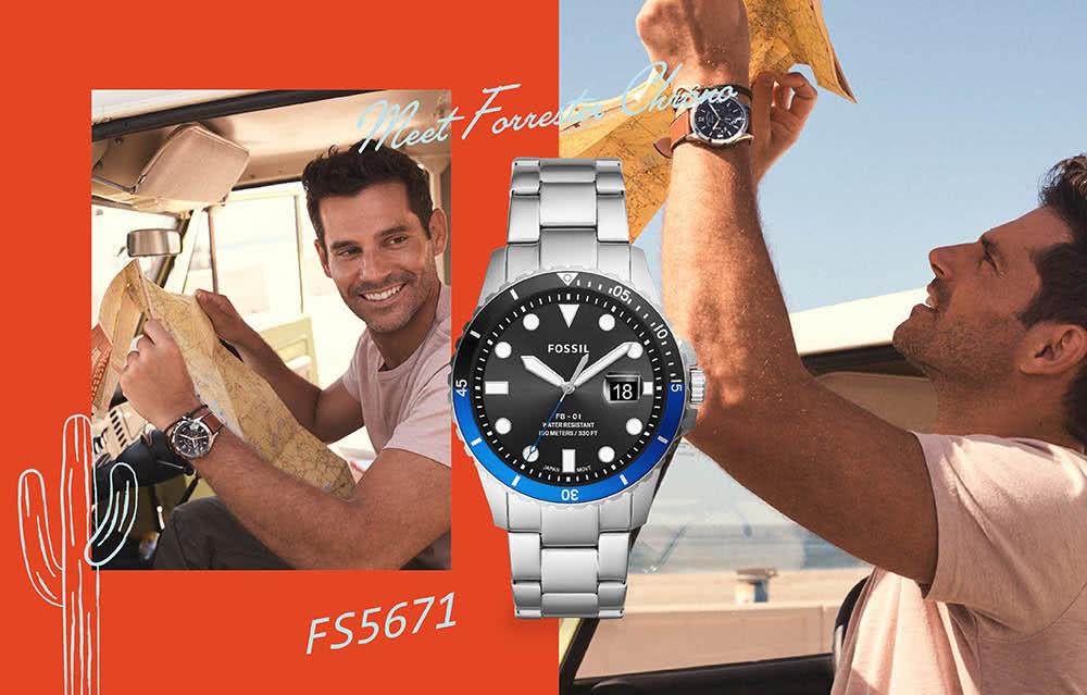 FOSSIL FB- 01 雙色錶框個性大錶針水鬼潛水男錶FS5671(42MM)