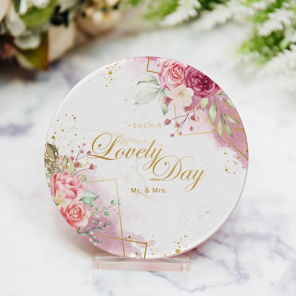 婚禮週邊-吸水杯墊-Lovely Day大理石款(可客製)