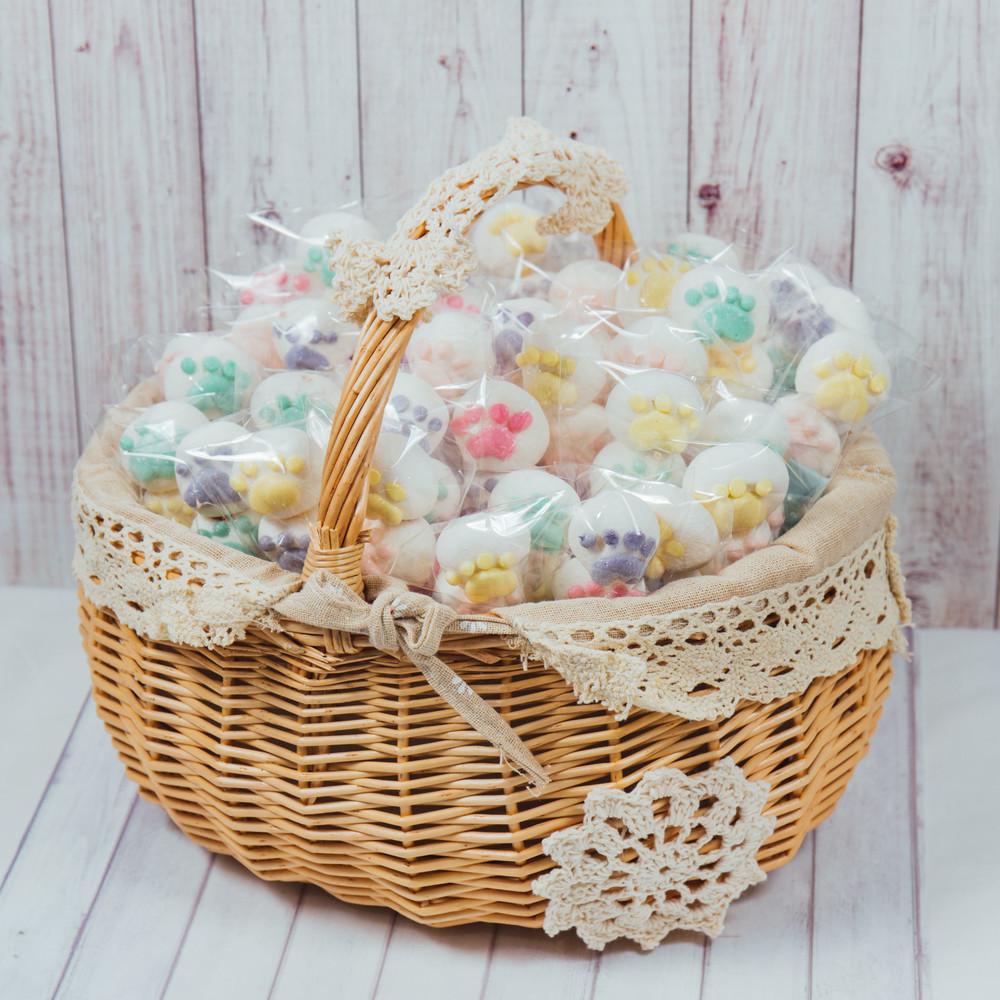 婚禮週邊-貓掌小肉球夾心棉花棒棒糖40支小提籃
