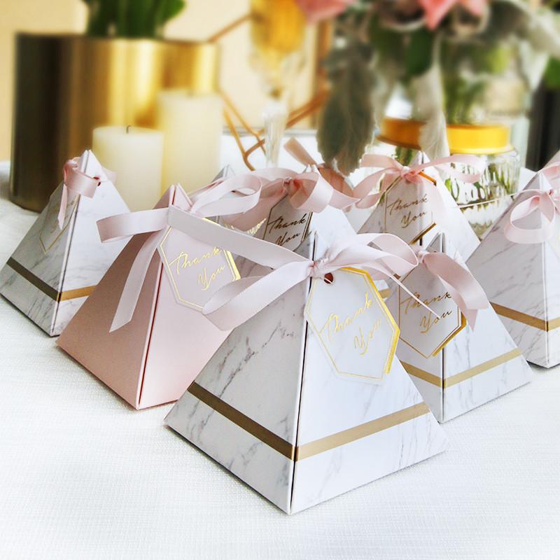 婚禮週邊-大理石三角喜糖盒