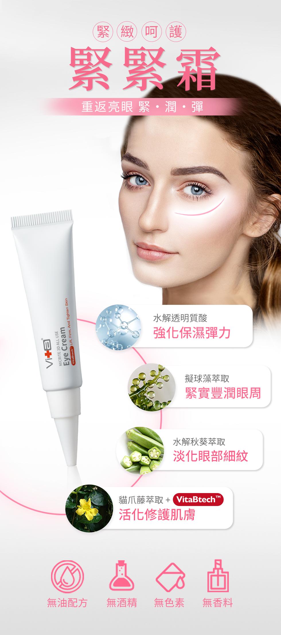 薇佳全能眼霜:強化眼周保濕力、緊實豐潤眼周、淡化細紋、活化修復肌膚