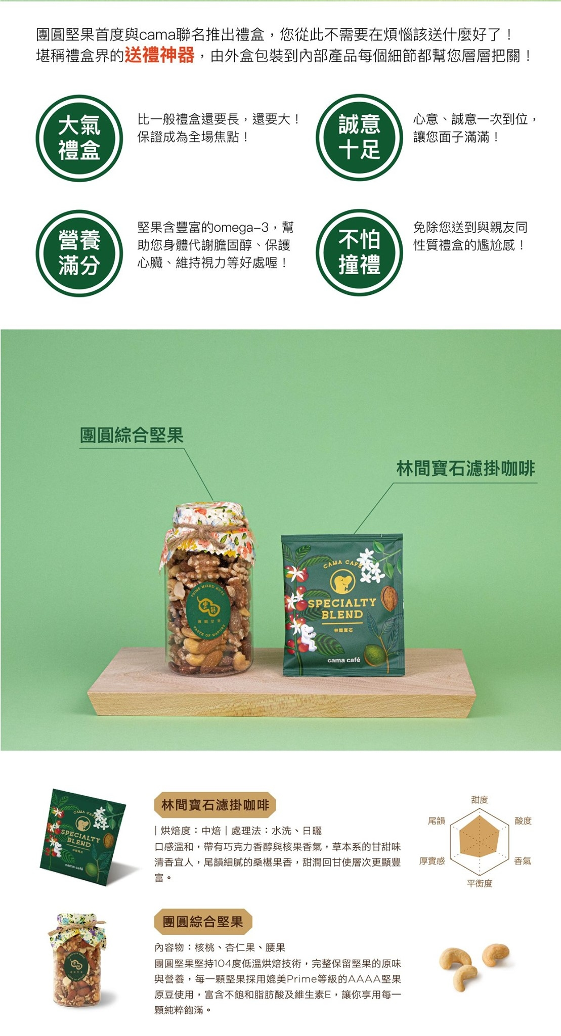 『 cama café x 團圓堅果林間瑰寶禮盒(大) 』節慶送禮首選!
