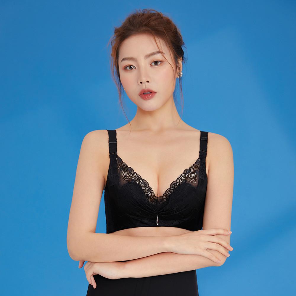 內衣 Olivia 無鋼圈加大碼透氣柔棉內衣-黑色