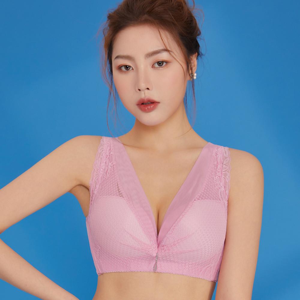 內衣 Olivia 無鋼圈加大碼集中拉提柔棉內衣-粉色
