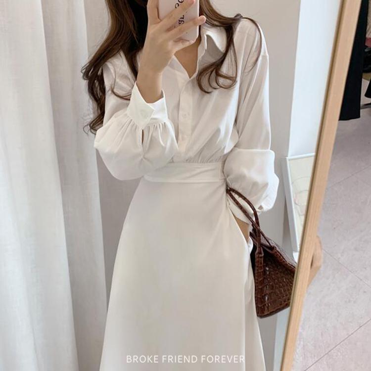 半身A字蜜桃絨襯衫洋裝|破產姊妹 B.F.F.