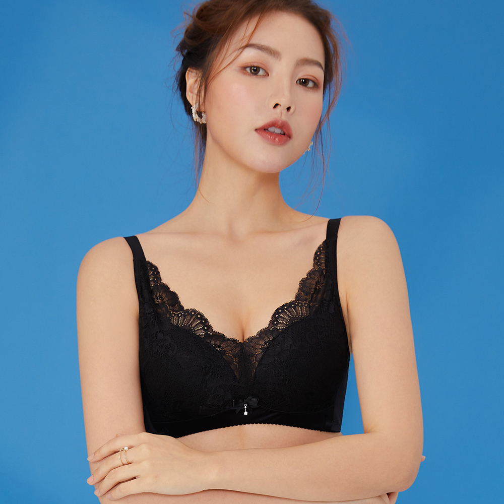 內衣 Olivia 無鋼圈超薄透舒蕾絲內衣-黑色