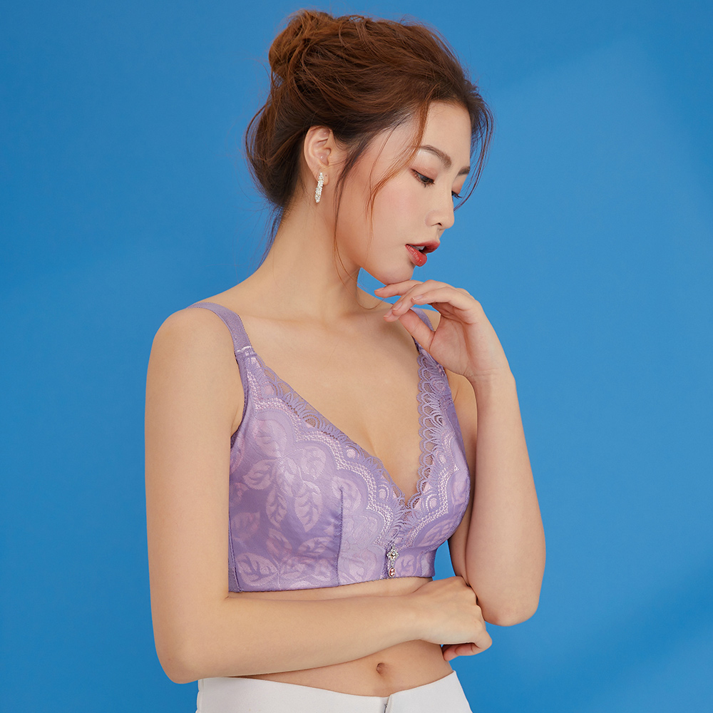 內衣 Olivia 無鋼圈加大碼超薄透氣托提內衣-紫色