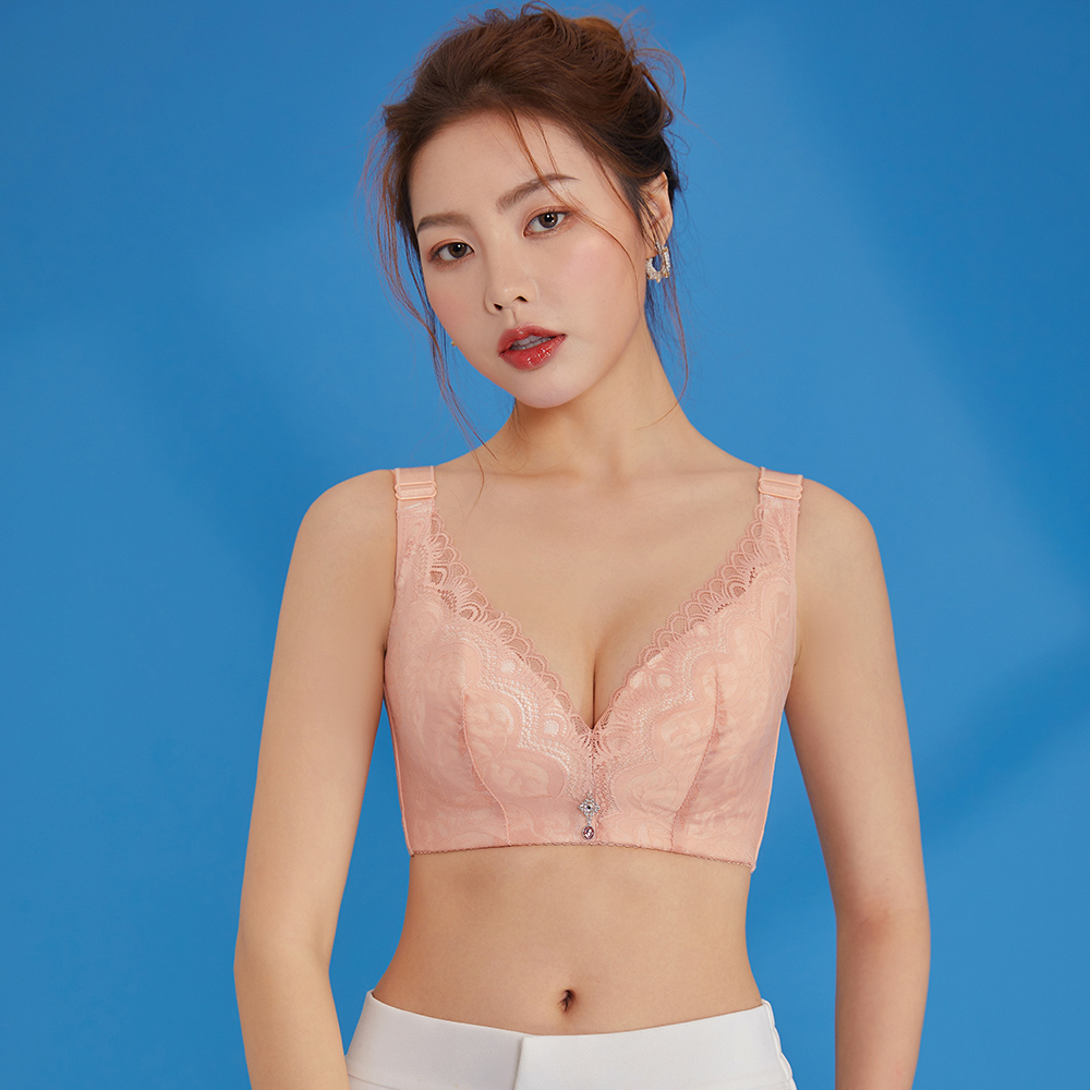 內衣 Olivia 無鋼圈加大碼超薄透氣托提內衣-粉橘