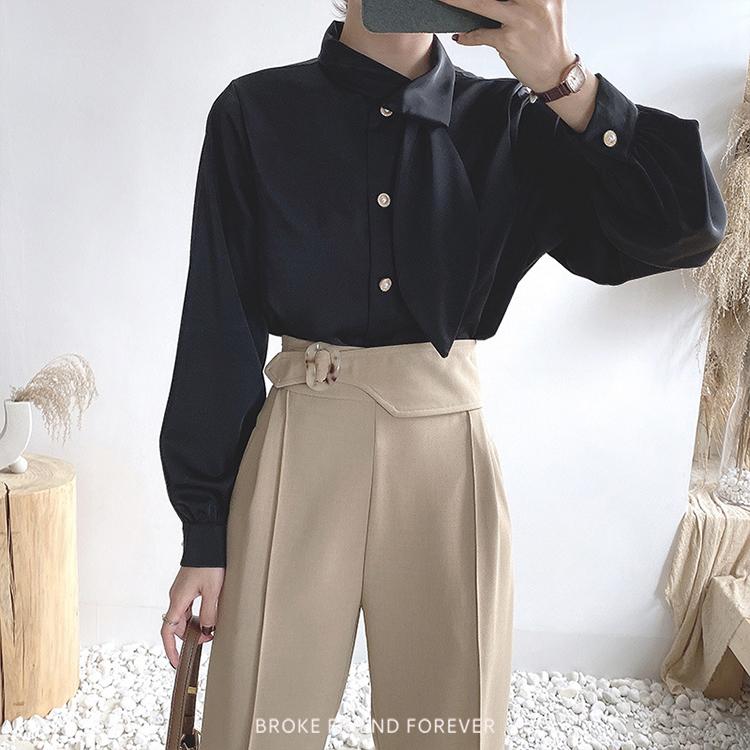 單領結法式緞面珍珠扣襯衫|破產姊妹 B.F.F.