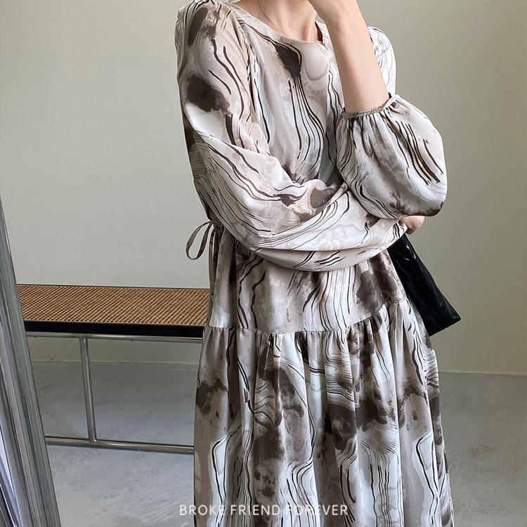 渲染油墨印花縮腰長洋裝|破產姊妹 B.F.F.