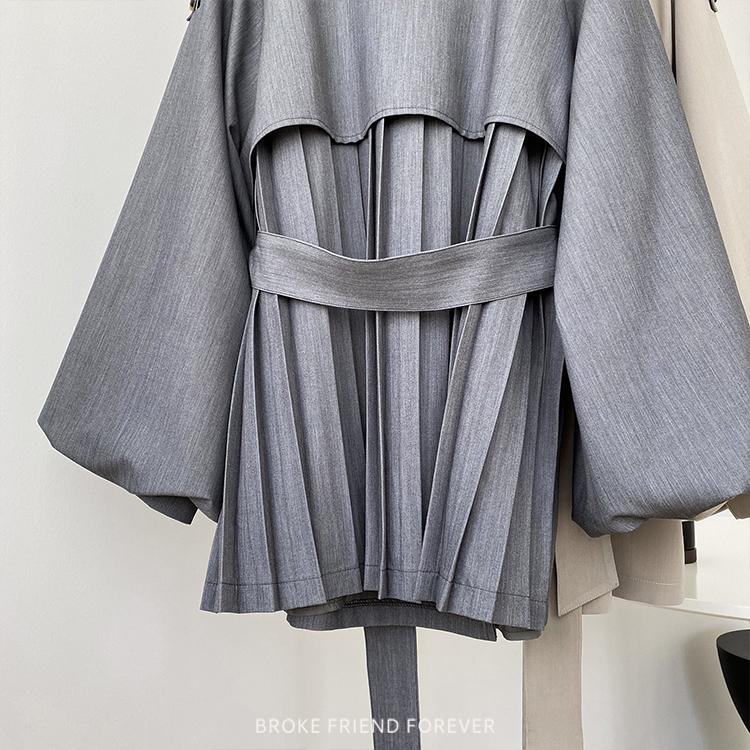 後百褶燈籠袖短款風衣外套|破產姊妹 B.F.F.