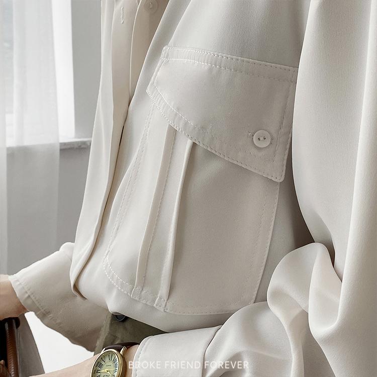 中性款休閒寬鬆單扣帶雪紡襯衫 破產姊妹 B.F.F.