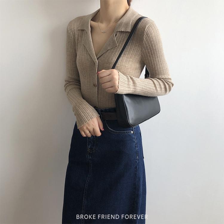 彈力坑條琥珀扣小翻領針織上衣 破產姊妹 B.F.F.