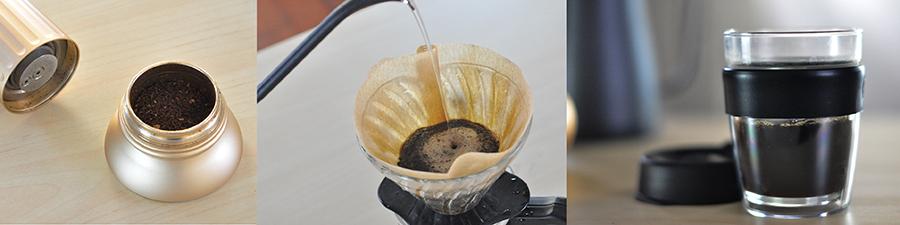 磨豆、注水、一杯沖好的咖啡