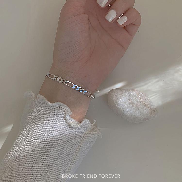 925純銀鎖鏈款幸運雙練粗細手鍊|破產姊妹 B.F.F.