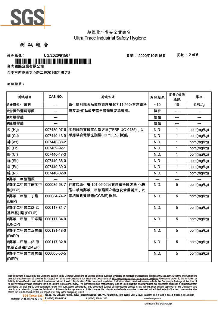 SGS檢驗報告 No.2 p2-4