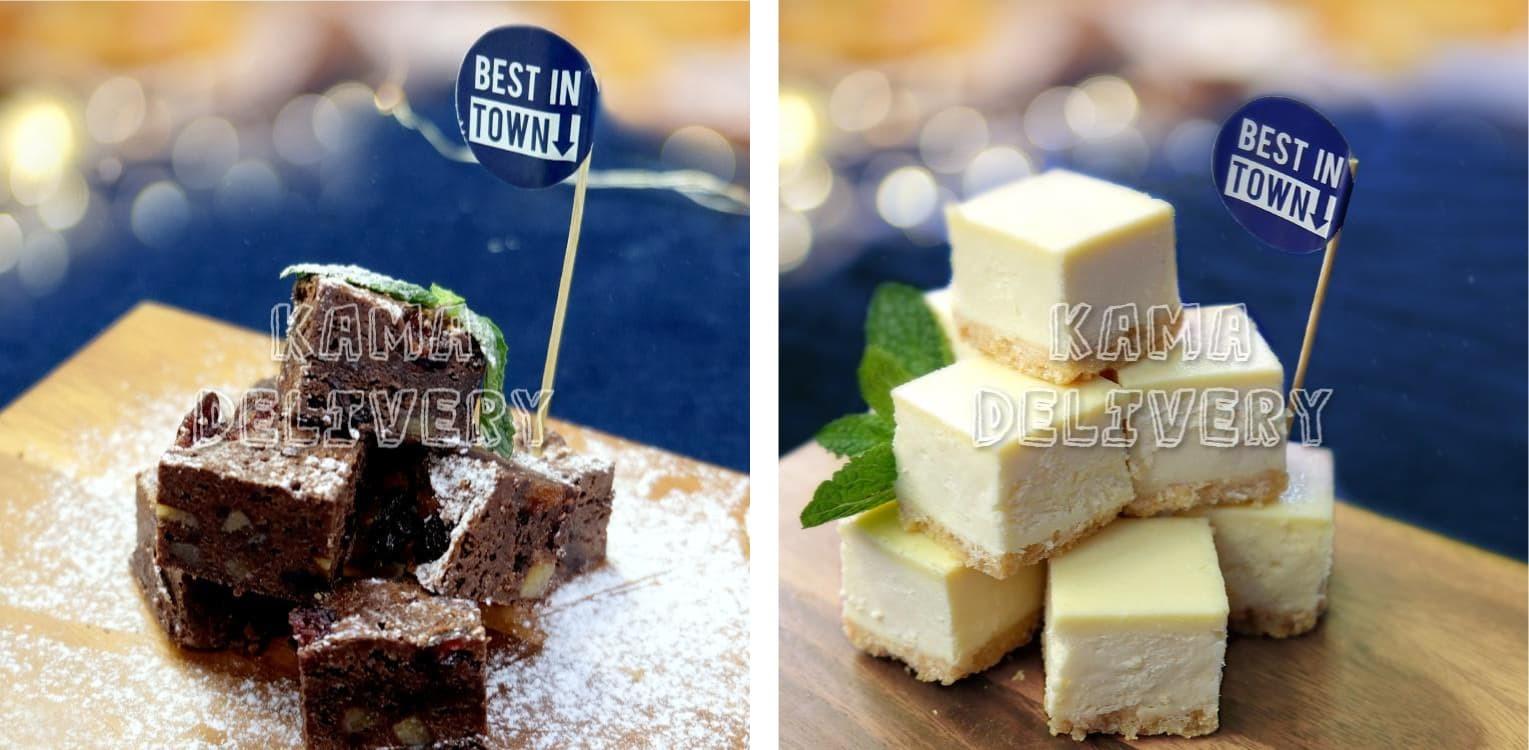 【甜品拼盤】迷你紐約芝士蛋糕、朱古力布朗尼、 法式原味泡芙|雙人到會外賣推介|Kama Delivery Catering到會外賣餐飲服務